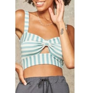Blue and white crop tops